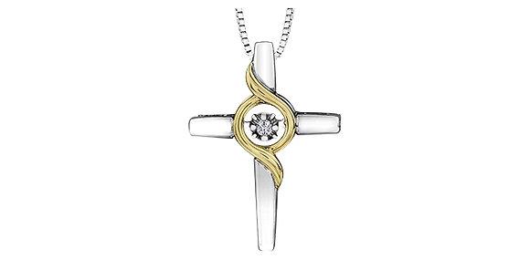 Silver & Yellow Gold Cross Canadian Diamond Pendant