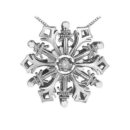 Silver Snowflake Pendant With Pulsating Diamond