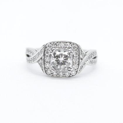 Cushion Cut Diamond Engagement Ring With Halo & Twist Band