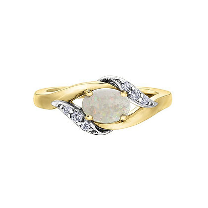 Oval Opal Two Tone Ring