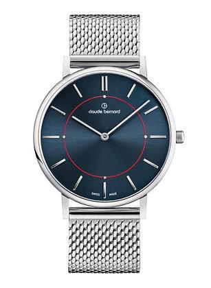 Silver and Blue Metal Watch by Claude Bernard