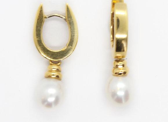 Yellow Gold Huggie Pearl Drop Earrings