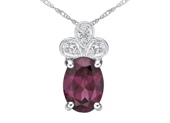 Oval Garnet Pendant with Accent Diamonds