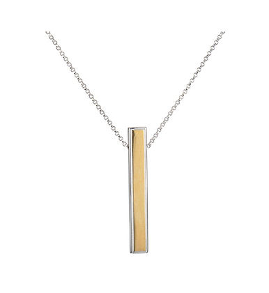 Two Tone Silver Vertical Bar Pendant
