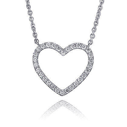 Claw Set Diamond Open Heart Stationed Pendant