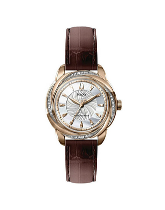 Brown Leather Bulova Rose Gold Watch