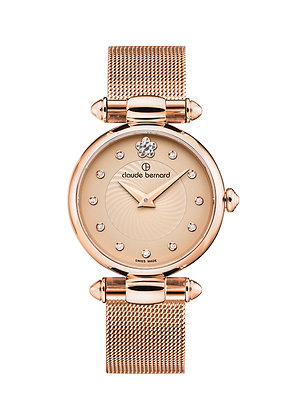 Beige & Pink Tone Metal Bracelet Watch by Claude Bernard
