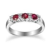 Round Trinity Ruby Ring With Diamonds