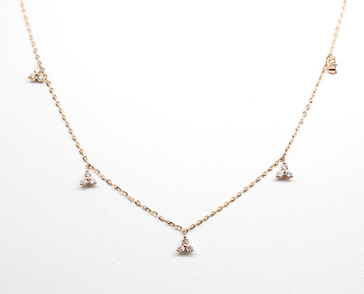 Rose Gold Stationed Diamond Necklace
