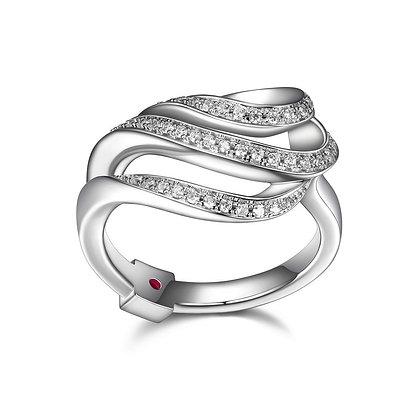 Silver Cubic Zirconia Triple Wave Ring