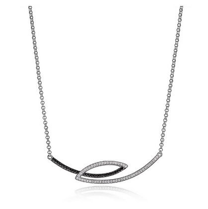 Black & White CZ Twisted Bar Necklace
