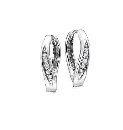 White Gold Twist Channel Set Diamond Earrings