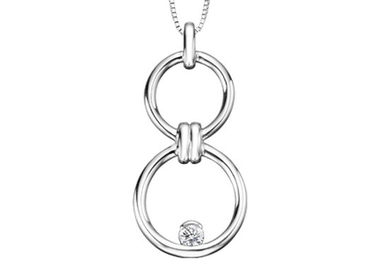 Silver Double Circle Drop Pendant with Canadian Diamond