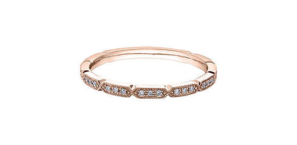 Rose Gold Thin Elongated Hexagon Diamond Stackable Ring