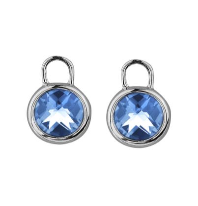 Round Blue Topaz Earring Enhancers
