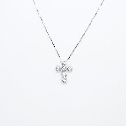 Round Cut Diamond Cross Pendant