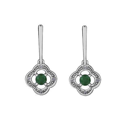 Round Emerald and Diamond Drop Earrings