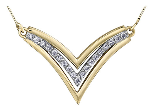 Diamond & Gold Chevron Necklace