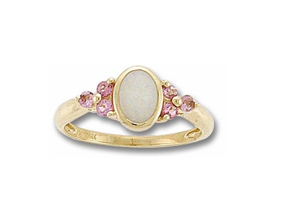 Oval Cut Opal and Pink Tourmaline Ring