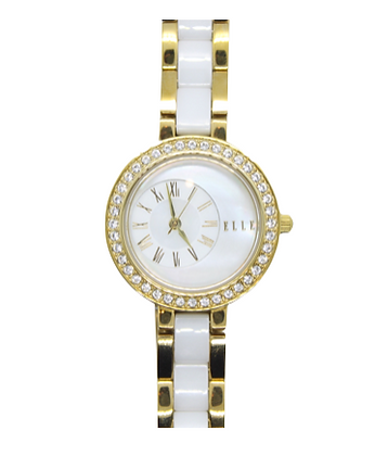 ELLE Yellow Gold & White Link Watch