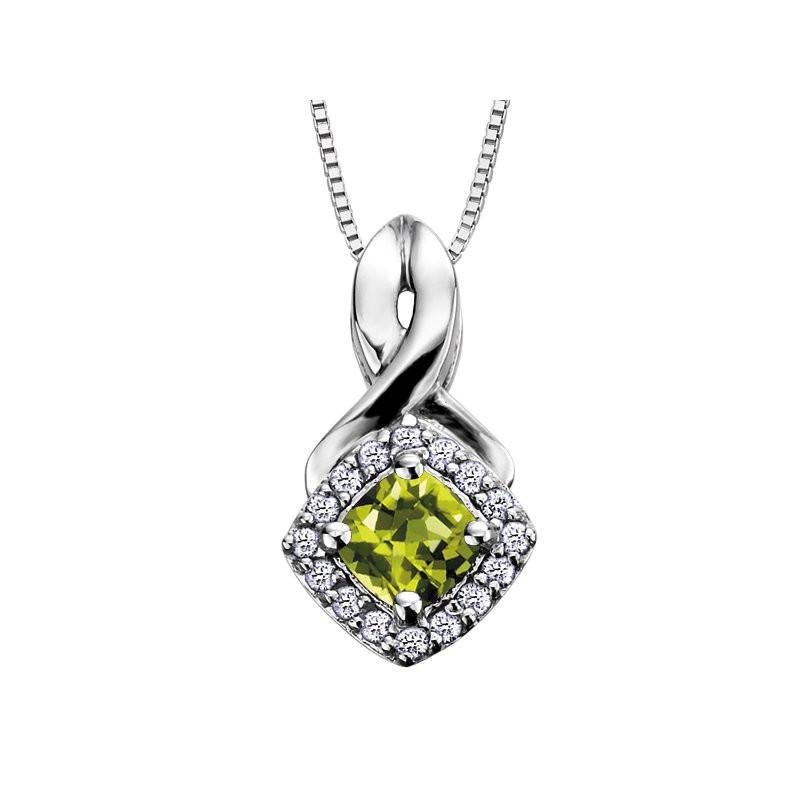 white gold peridot pendant with diamond halo
