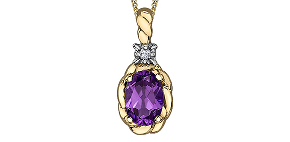 Yellow Gold Rope Oval Amethyst Pendant