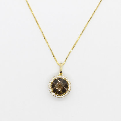 Round Smoky Quartz Pendant With Diamond Halo