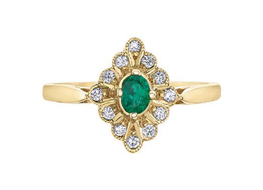 Oval Emerald & Diamond Halo Ring