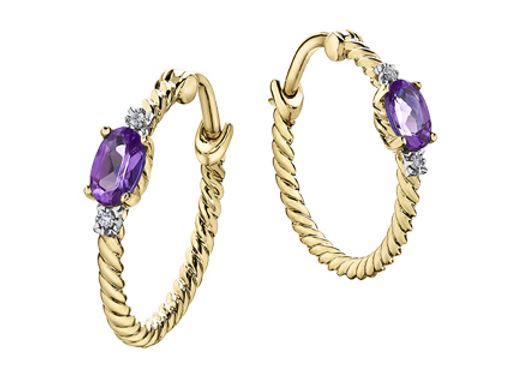 Yellow Gold Rope Style Amethyst Hoops