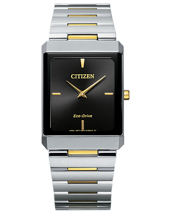 Citizen - Black Dial with Silver and Gold Two Tone Metal Band