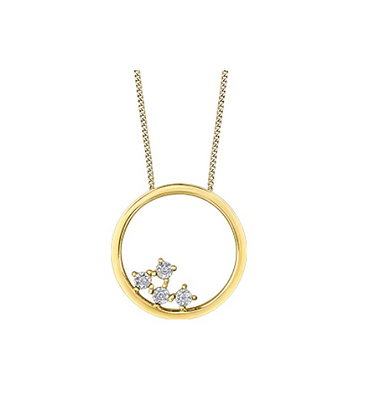 Yellow Gold Circle Pendant With Canadian Diamond Cluster