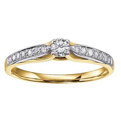 Yellow Gold Brilliant Cut Diamond Promise Ring