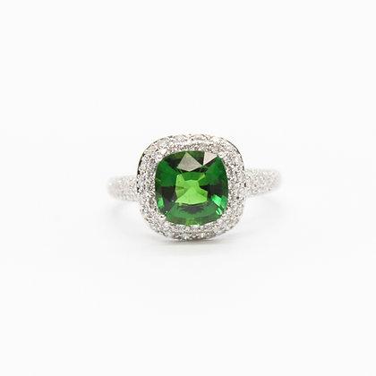 Cushion Cut Chrome Tourmaline Ring With Diamond Halo