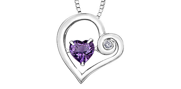 "Amethyst Heart Shape ""Pulse"" Pendant with Diamond"
