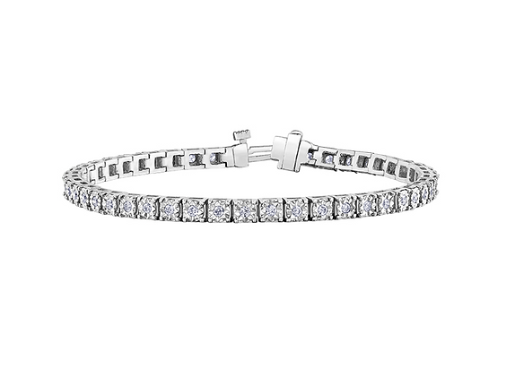 White Gold Round Diamond Tennis Bracelet (1.00 carat)