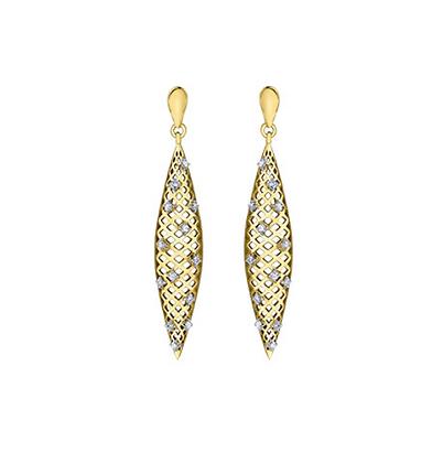 Yellow Gold Elongated Oval & Diamond Earrings
