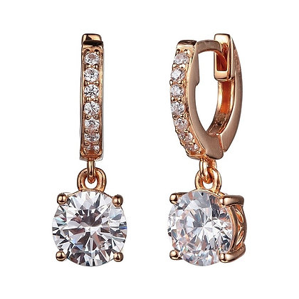 Rose Gold Plated Round Cubic Zirconia Drop Earrings