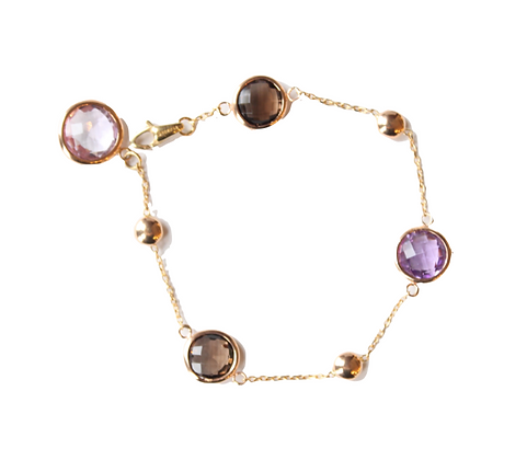 Rose Gold Amethyst & Quartz Bracelet