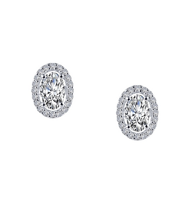 Oval Cut Simulated Diamond Halo Studs
