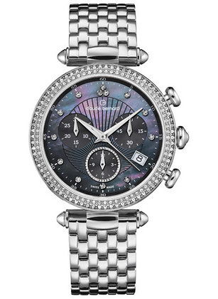 Silver and Black Mother of Pearl Watch by Claude Bernard