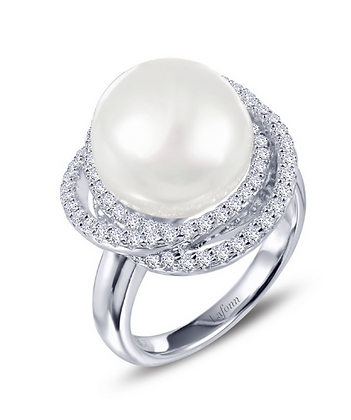 Pearl & Simulated Diamond Ring