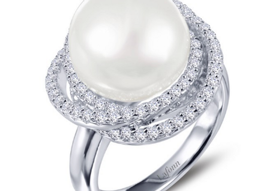 Pearl & Simulated Diamond Ring