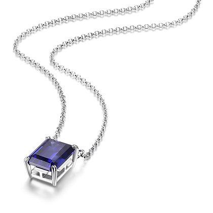 Silver Emerald Cut Tanzanite Inspired Cubic Zirconia Necklace
