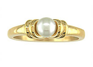 Yellow Gold Solitaire Pearl Ring