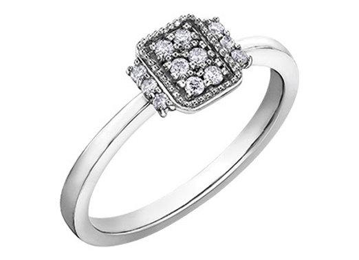 Diamond Cluster Emerald Shaped Ring
