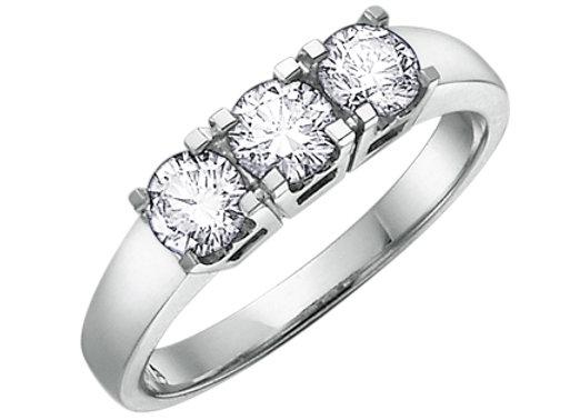 Brilliant Cut Trinity Style Engagement Ring