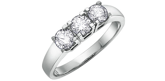 Brilliant Cut Trinity Style Engagement Ring