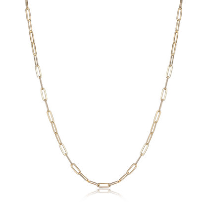 "Yellow Gold Plated Plain Paper Clip Link Chain (36"")"