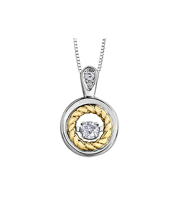 Open Circle Diamond Pedant With Rope Detailing