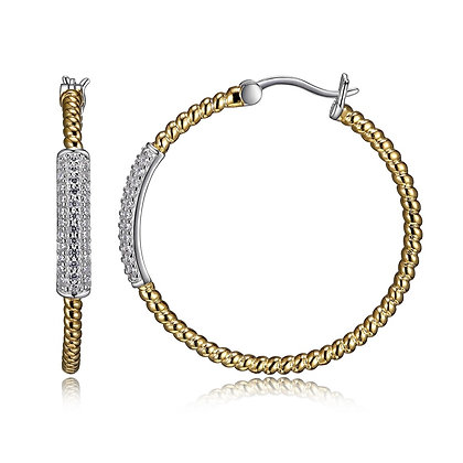 Yellow Rope Hoops With CZ Bar